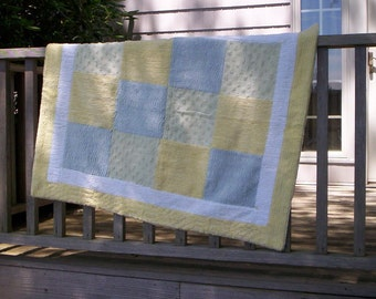 Chenille Patchwork Quilt in blue, green, yellow baby, toddler, wheelchair, lap quilt, shabby chic, low volume