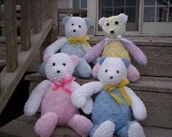 Chenille Teddy Bear in pastel or multi-color blue yellow lavender purple pink mint green teddy bear