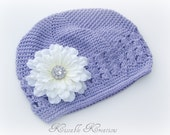 Flower Hat...Crochet Beanie Hat...Lavender Hat...Detachable Cream Flower Clip...Toddler Hat