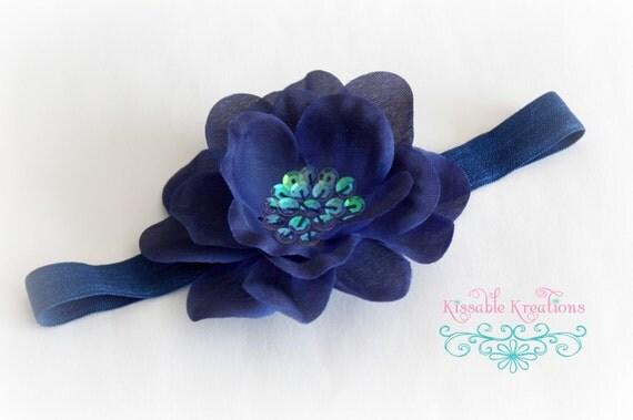New Sale Price...Navy Flower Headband...Sequin Flower Stretch Headband in Navy Blue...Baby Headband