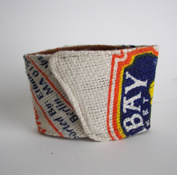 Up-cycled Basmati Rice Bag Coffee/Beer Cozy with Gift Card Holder Option