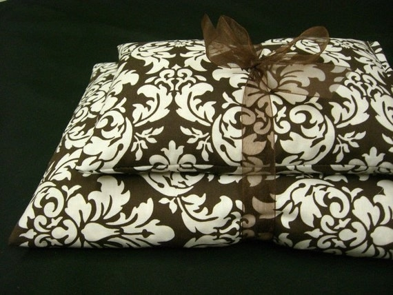 Heating Pad Microwavable Corn Bag Set- Dark Chocolate and White Dandy Damask