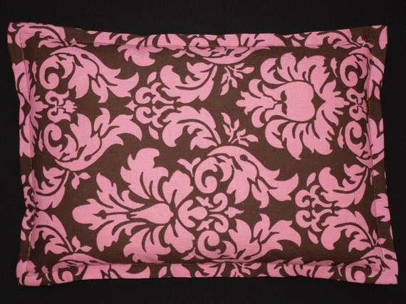 Heat Pack Corn Bag Microwavable- Pink and Chocolate Brown Damask