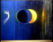 Solar Eclipse 17 x 11 Lt Ed modern fine art abstract hand embellished canvas print from original  painting by Carol Lee