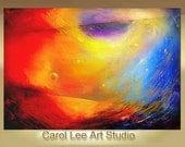 COSMIC ENTRANCE Custom order Huge Original Painting modern abstract contemporary art leearte - Carol Lee art studio