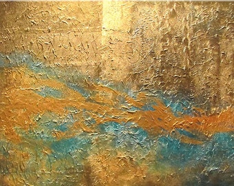 ABSTRACT PAINTING Large original Handmade modern art painting acrylic contemporary art metallic gold textured artist Carol Lee fine art