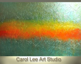 Large Original modern art abstract painting palette knife textured green gold contemporary fine art INFINITY WAVE- Carol Lee - Leearte