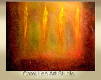 Large figurative modern art made to order acrylic abstract painting hand painted  original fine art  title: The Light Keepers Carol Lee -