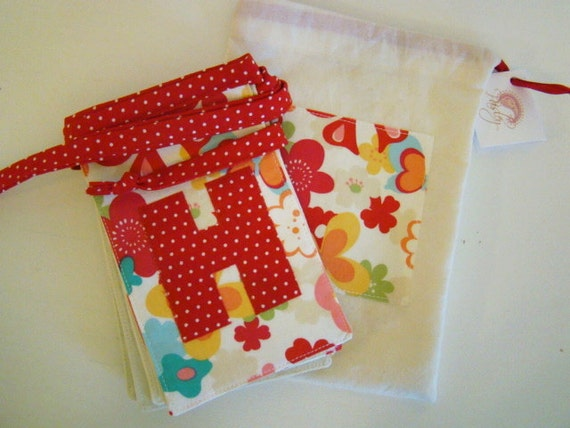 Happy Birthday Fabric Party Banner- Girls Red, Aqua, Pink, Green multicolor flowers and butterflies