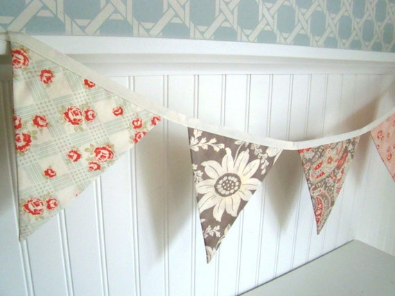 Shabby Chic Girls Fabric Bunting/ Home Decor/ Party Decor- pink, aqua, red, gray, brown fabric flags