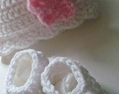 Beanie and Ballerina Mary Jane Booties in White with Bubble Gum Pink Flower      U Can Pick the Flower Color