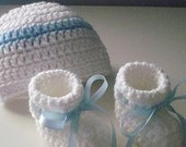 White Beanie with Blue Stripe and Bootie Set
