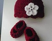Red Beanie and Ballerina Mary Jane Bootie Set