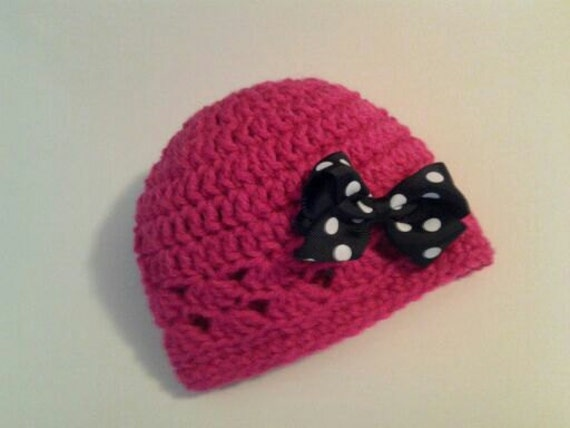 Newborn Beanie Hat in Hot Pink with Polka Dot Bow in Black and White for Baby