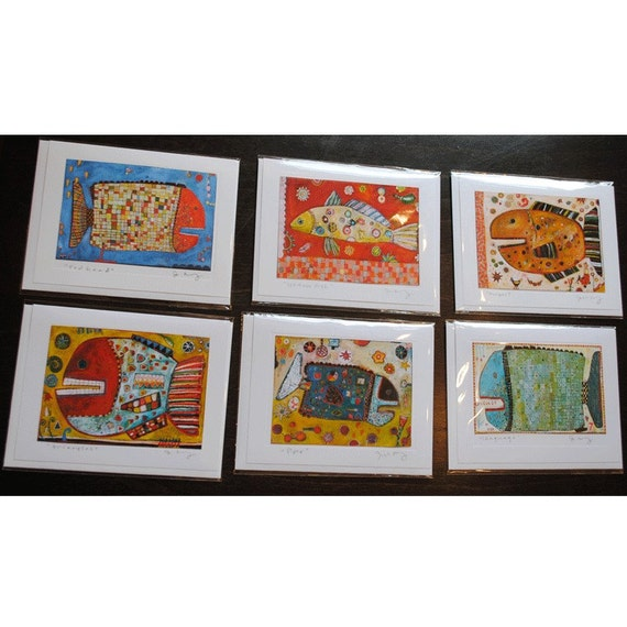 Six Assorted Fish Greeting Cards