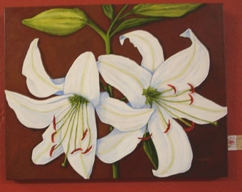 WHITE LILIES Painting - 22x28 - Large Wall Art-  Original Floral Painting