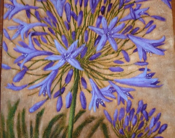 AGAPANTHUS Painting - Still Life -  18x24 deep edge canvas - Textured Surface - FLORAL - Flower art