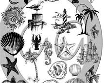 Sepia Fused Glass Decals - Beach Sea