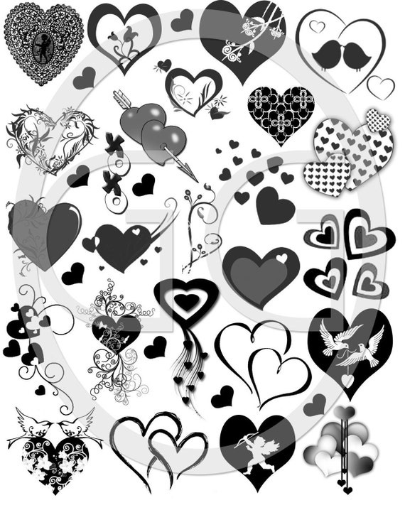Sepia Decals for Fused Glass - Hearts