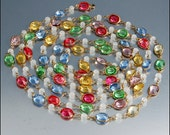 Vintage 80 in Long Colorful Open Back Crystal Necklace