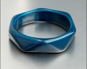 Turquoise Blue Unique Shape Lucite Bangle Bracelet Vintage Jewelry