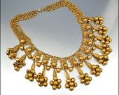 RESERVED Vintage 1930s Art Deco Fringe Bib Gold Necklace Runway Jewelry