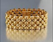 Vintage Gold Panther Link Bracelet, Tank Tread Bracelet, Swiss Wide Bracelet, Retro Vintage Bracelet 1940s, Gold Bracelet, European Bracelet
