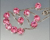Art Deco Necklace Sterling Silver Pink Crystal Open Back Vintage 1930s Jewelry
