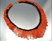 Vintage Necklace Sponge Coral Egyptian Geometric Lucite Vintage 1970s Jewelry