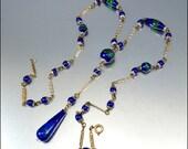 Czech Art Deco Necklace Peacock Lava Glass Blue Silver Sautoir Vintage 1920s Jewelry