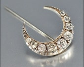 Victorian Crescent Moon Brooch Silver Rock Crystal Antique 1860s Wedding Jewelry