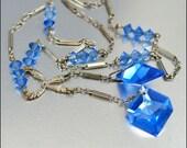 Blue Glass Art Deco Necklace Czech Negligee Pendant Silver Bead Vintage 1930s Jewelry