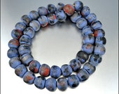 Art Deco Necklace Wood Bead Painted Blue Statement Bohemian Vintage 1930s Jewelry