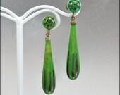 Art Deco Earrings Galalith Celluloid Enamel Dangle Brass Chadnelier Green Vintage Jewelry 1920s