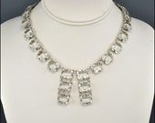 Art Deco Vintage Necklace Crystal Glass Silver Open Back 1930s Jewelry