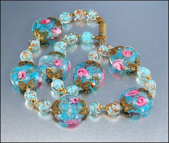 Vintage Italian Venetian Wedding Cake Glass Bead Necklace