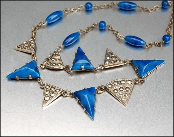Art Deco Marcasite Geometric Necklace Silver Vintage 1920s Jewelry