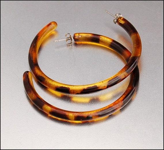 Lucite Tortoise Shell Hoop Earrings Huge Vintage 60s Fab