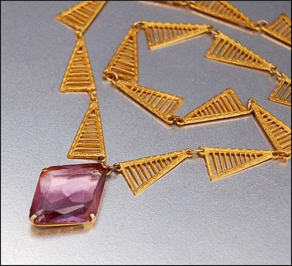 Purple Gold Gilt Filigree Geometric Art Deco Necklace 1920s Vintage Jewelry