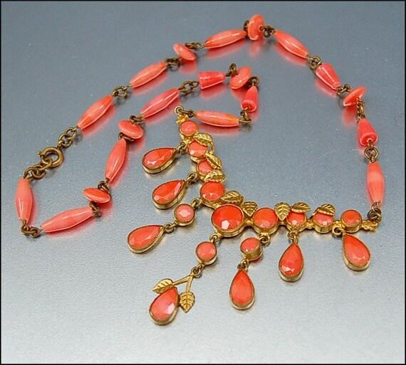 Coral Art Deco Czech Necklace Gold Gilt Vintage 1920s Jewelry