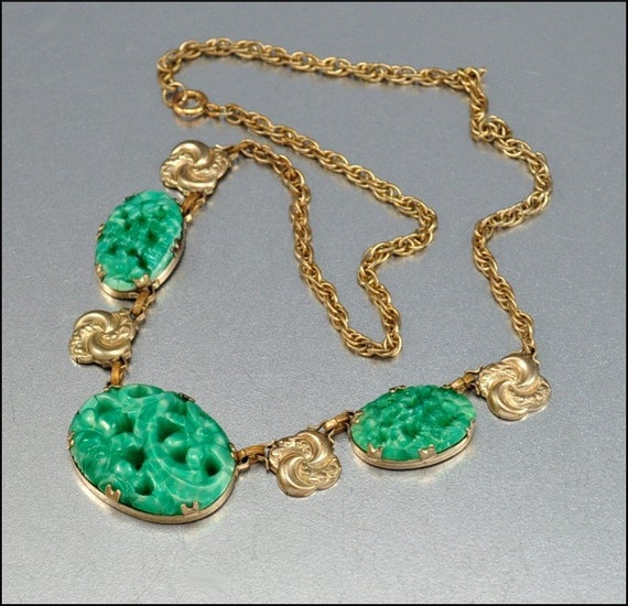 Art Deco Necklace Jade Glass Gold Vintage 1930s Jewelry