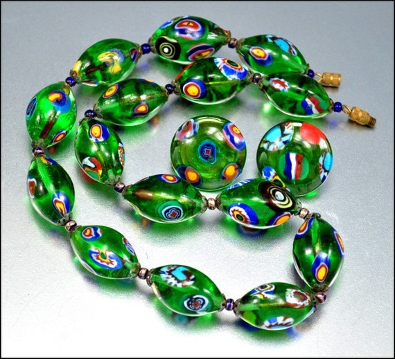 Italian Millefiori Glass Necklace Earrings Emerald Green 1930s Deco Jewelry