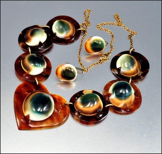 Victorian Operculum Tortoise Shell Necklace & Earrings Heart Antique Jewelry