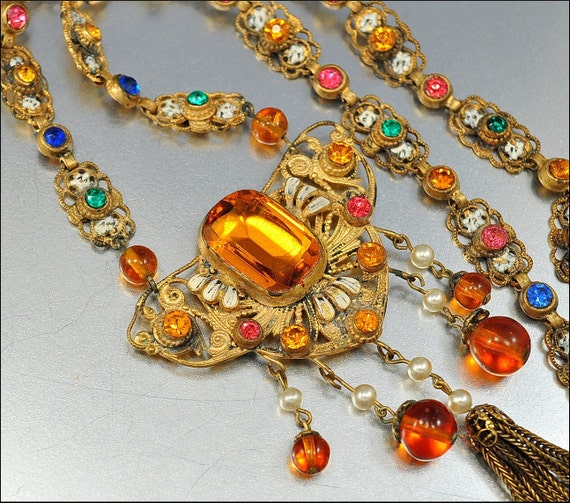 Enamel Glass Czech Art Deco Necklace Art Deco Jewelry Gold Rhinestone Vintage 1920s Jewelry