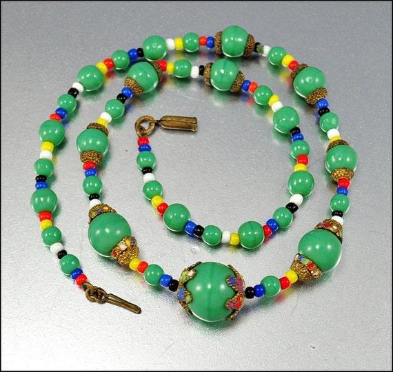 SALE Art Deco Necklace Czech Enamel Gold Green Glass Vintage 1920s Jewelry