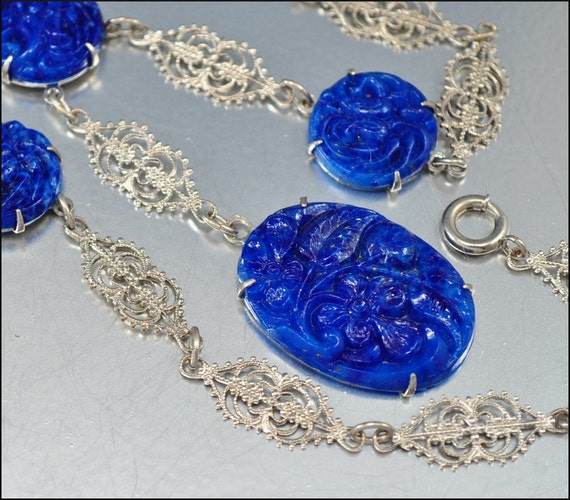 Vintage Art Deco Necklace Silver Rhodium Blue Glass 1920s Jewelry