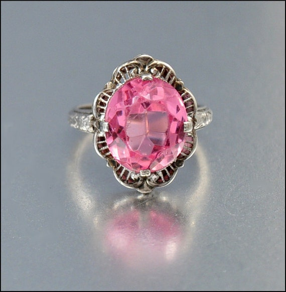 vintage deco ring pink sapphire glass sterling silver