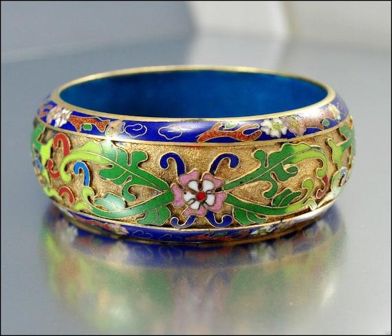 Vintage 1940s Bracelet Bangle Gold Chinese Enamel Wide Jewelry