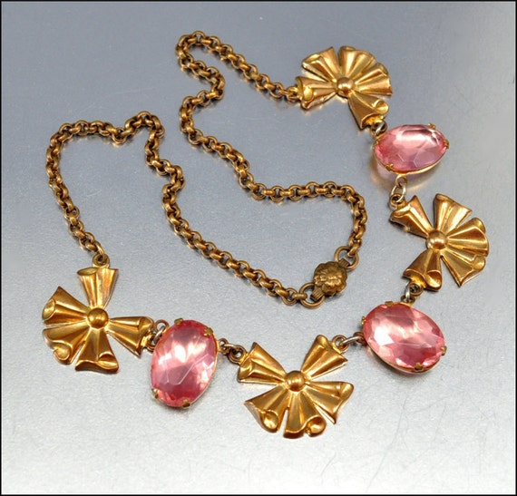Art Deco Necklace Gold Bow Coro Pink Vintage 1930s Jewelry