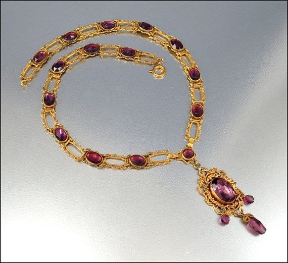Art Deco Necklace Czech Glass Vauxhall Gold Vintage Jewelry Purple Antique 1915